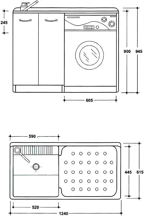 Lavabo Yellowshop para lavandería y baño con cubierta para ...