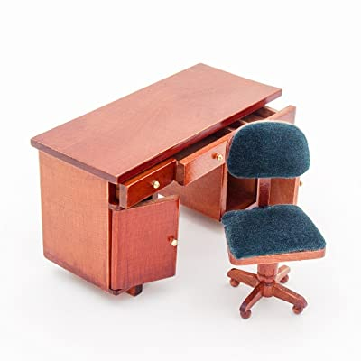Odoria 1:12 Miniature Wooden Office Desk and Swivel Chair Dollhouse Furniture Accessories: Toys & Games