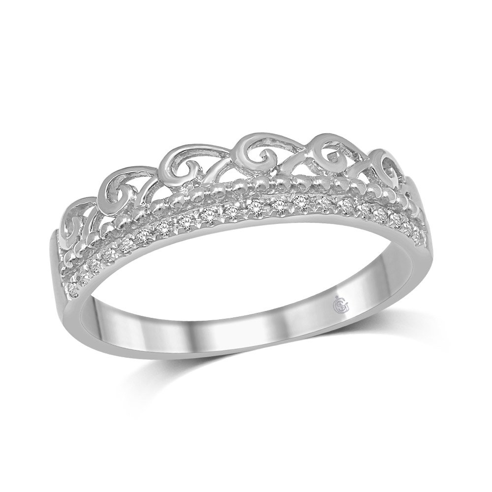 14K White Gold 2/5 Ct.Tw.Diamond Stackable Band by Saris and Things