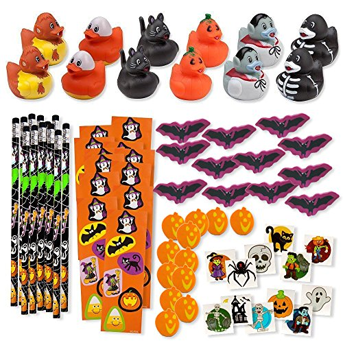 Bulk 156 Halloween Party Favors Treats for Kids Toys Novelty Assortment 12 Ducks 12 Pencils 12 Stickers Sheets 48 Mini Erasers 72 Glitter Tattoos