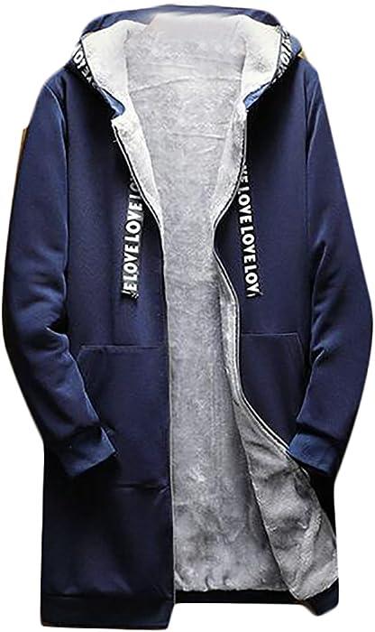 84d4361b2 KXP Mens Stylish Zip-up Fleece Lined Hooded Overcoat Trench Coats ...