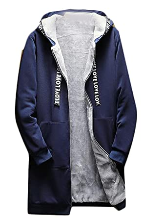 aab0489830 Image Unavailable. Image not available for. Color: KXP Mens Stylish Zip-up  Fleece Lined Hooded Overcoat Trench Coats Navy Blue M