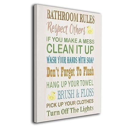 Amazon Com Oanaklsd Bathroom Rules Rubber Ducky Modern Wall