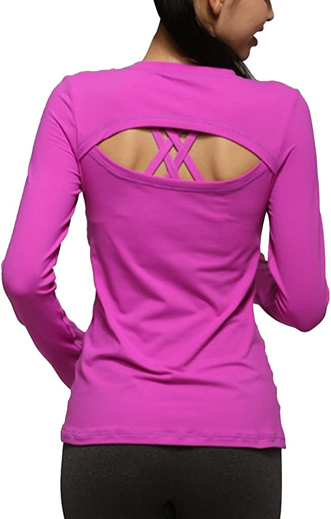 Sumtory Women Breathe Fitness Active Yoga Tops Long Sleeve Back Lip Hole Shirt