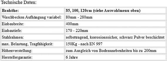 korrosionssicherer Vorwandmontagerahmen Bauh/öhen 85 100 120 cm Gr/ö/ße:85cm Waschbecken Vorwandelement zur ECKMONTAGE