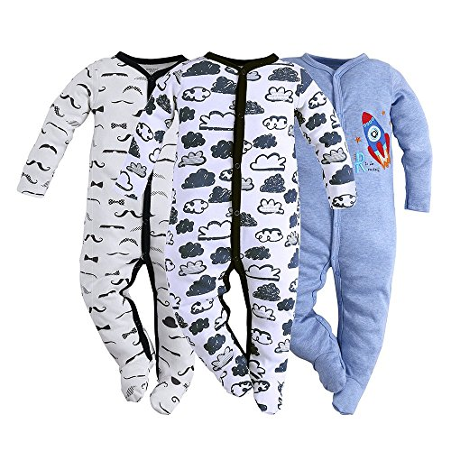 132 Snap - Hisharry 3-Pack Baby Boy Footed Toddler Snap Fit Cotton Pajamas Long Sleeve Jumpsuit Newborn Romper Bodysuit