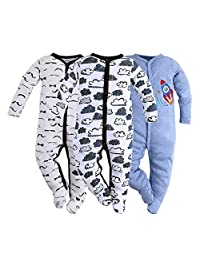 Hisharry Baby Boys Footed Pajamas-3 Packs Infant Newborn Long Sleeve Rompers Sleeper