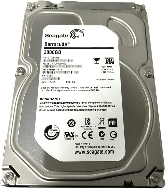 (Old Model) Seagate Barracuda 3TB SATA 6Gb/s7200RPM 64MB Cache 3.5-Inch Internal Desktop Hard Drive (ST3000DM001) - 3 Year Warranty