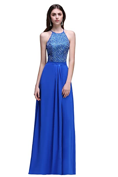 New Arrival Ruffles Royal Blue Party Gowns Halter-Neck A-line Beading Party Prom Dresses(Customizable) at Amazon Womens Clothing store: