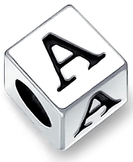 6471b1d7c Amazon.com: Alphabet Capital A Square Block Letter Charm Bead For Women For  Teens 925 Sterling Silver Fits European Bracelet: Jewelry
