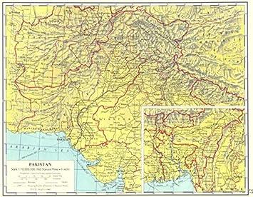PAKISTAN Pakistan Inset map of East Pakistan Bangladesh  1962