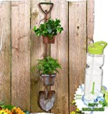 Gift Included- Flowers Herbal Garden Rustic Tool Pots Planters Shovel or Pitchfork Display + FREE Bonus Water Bottle byHomecricket (Shovel)
