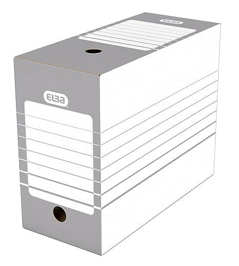 Elba – Juego de cajas archivadoras automáticas 20 unidades, color gris Dos 15 cm