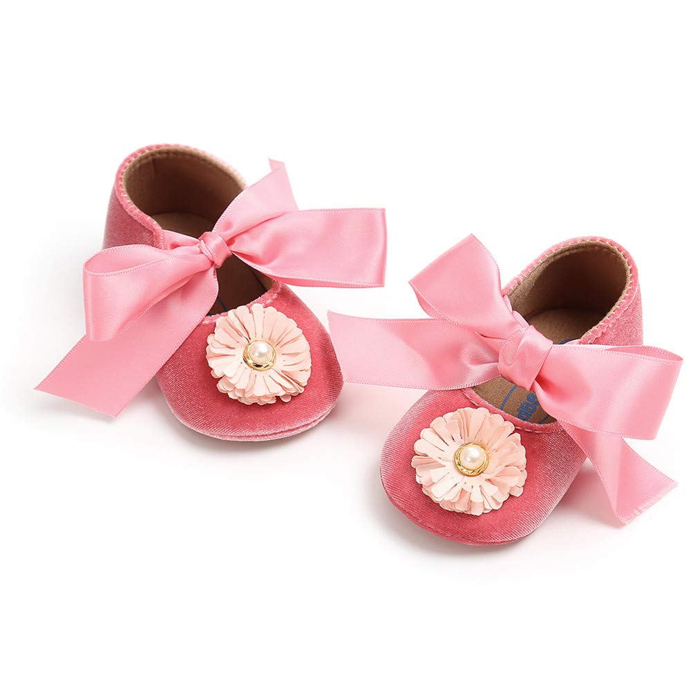 0-24 Months Toddler Baby Girls Princess Shoes Bow Bandage Velvet Shoes Flowers Decor First Walkers Crib Shoes