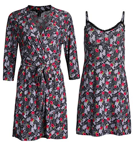 Rene Rofe Sleepwear Women\'s Robe and Chemise 2 Piece Soft Touch Set (Heather Grey/Roses, Large)'