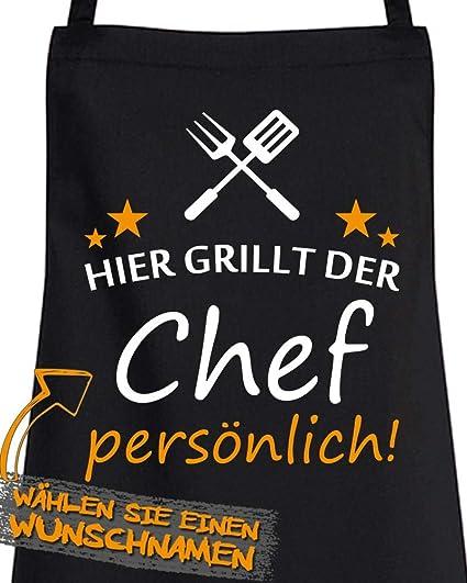 Schürze individuell BESTICKT mit Namen /& 5 Sterne Küchenschürze Latz Grill