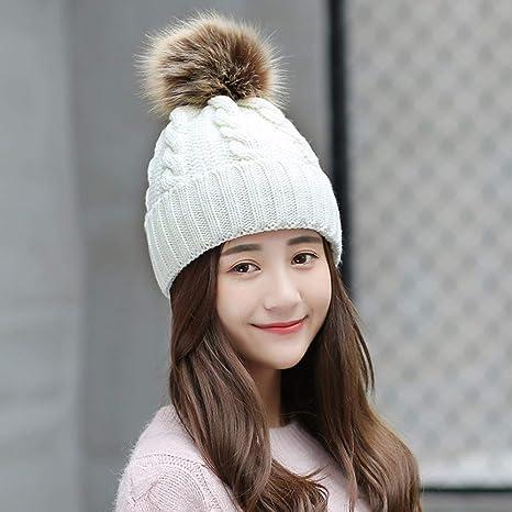 553330bf45713 YIERSANSI Sombrero de Gorro de Invierno Bola Chica Invierno Invierno  Sombrero de Punto y Protectores