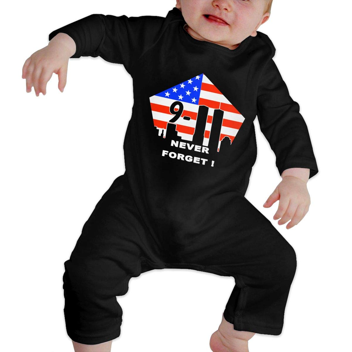 UGFGF-S3 Remember 9 11 Never Forget Baby Girl Long Sleeve Romper Jumpsuit Organic Coverall
