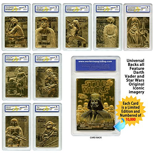 STAR WARS Set of 9 Official 23K Gold Cards Graded Gem-Mint 10 DARTH VADER SERIES