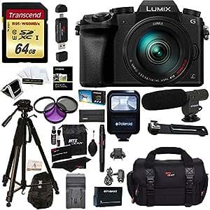 "Panasonic DMC-G7HK Digital Single Lens Mirrorless Camera 14-140 mm Lens Kit, 4K + Accessory Bundle + Transcend 64 GB High Speed 10 UHS-3 + Polaroid 72"" Tripod + Flash + Microphone + Filter Set + More"