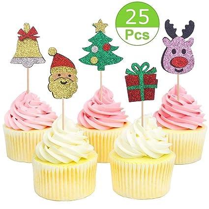 Christmas Cupcake Toppers.Sakolla 25 Pieces Glitter Christmas Cupcake Toppers Christmas Santa Claus Cupcake Toppers For Christmas Party Decorations Supplies