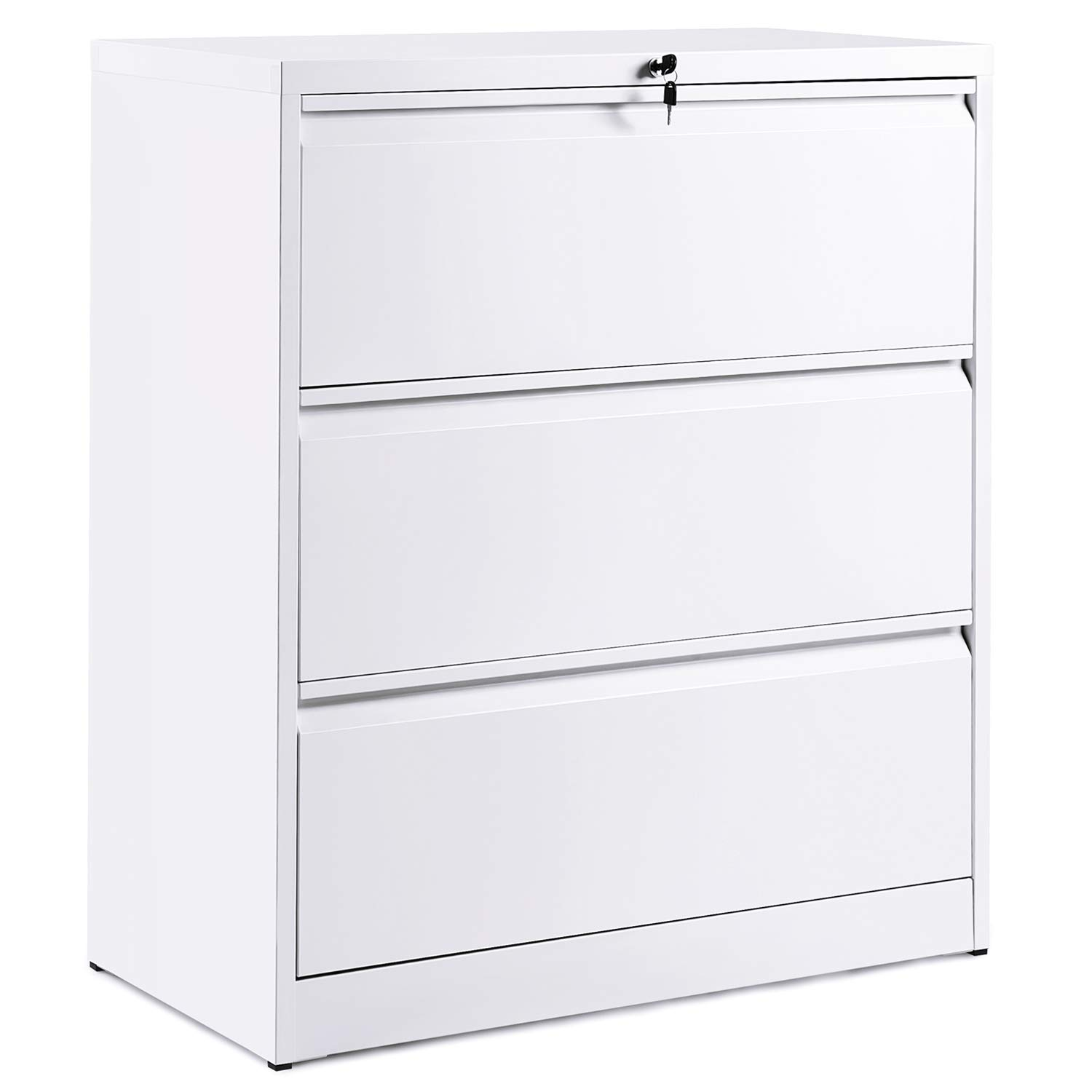 ModernLuxe Lateral File Cabinet 3-Drawer with Lock and Key (White)