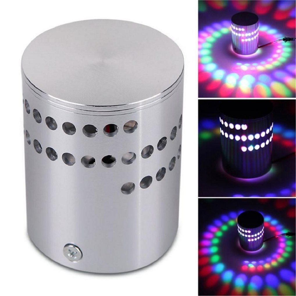Appoi Garden Lights RGB Colorful Spiral Hole Wall Light RGB Lamp Surface Install LED Light Luminaire Lighting (Silver)