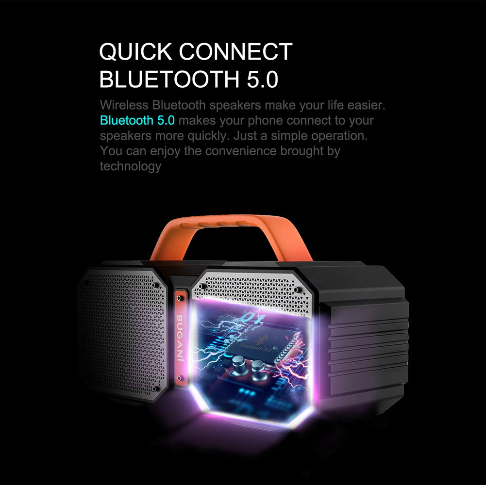 Bluetooth Speakers, Waterproof Outdoor Speakers Bluetooth 5.0,40W Wireless Stereo Pairing Booming Bass Speaker,2400 Minutes Playtime with 8000mAh Power Bank, Durable for Home Party,Camping(Black) by BUGANI (Image #6)