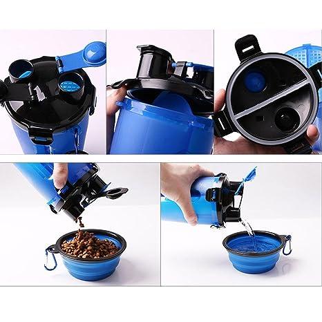 Dispensador de agua y comida portátil para mascotas con cuenco plegable de Aolvo, 2 en