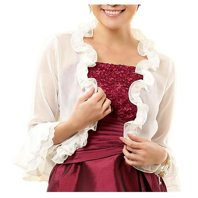 Cardigan Verano Elegantes Moda Camisas Mujer Volantes Color Sólido Mangas 3/4 Fiesta Encaje Splice
