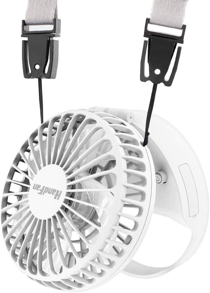 HandFan Portable Necklace Fan 180 Foldable Battery Operated Hands-Free Neck Fan Personal Fans Rechargeable with Magnetic Switch Strong Airflow Mute 3 Speed Mode for Travel Outdoors Camping White