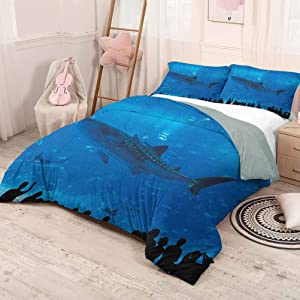 Sheet Sets - Bedding 3 Piece Duvet Cover Set – 1 Duvet Cover with 2 Pillow Shams - Shark Japanese Aquarium Park with People Silhouettes Watching Underwater Life Hobby Image - Cal King - Blue Black
