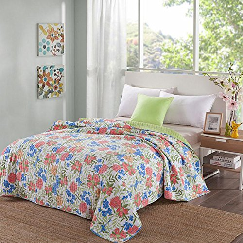 One Pieces Summer Quilt Floral Pattern Comforter Kids Teens Adults Cotton Full Size Bedspread - Clip Euro Frames