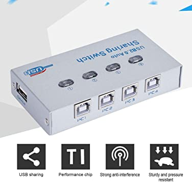Tonysa 1 a 4 Compartir Switch Switch Switcher USB 2.0 Auto/Manual ...