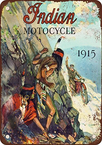 (HTFDS 1915 Indian Motorcycles Vintage Look Reproduction Metal Tin Sign 8x12 inches )