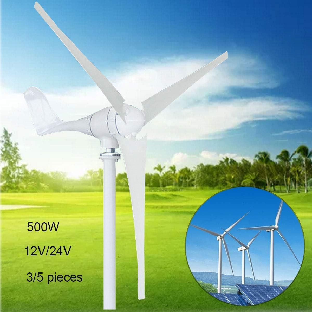 YUYUKUAILAI 12 Turbina / 24V 500W M2 Tipo 3 Hoja / 5 Leafcontroller para los hogares Marina Pequeño Horizontal de Viento del Eje del Viento,24V
