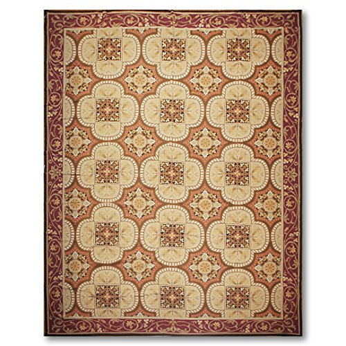 - Asmara 10'x14' Rustan Beige, Tan, Plum, Burnt Orange, Brown, Gold, Multi Hand Woven Needlepoint Aubusson Wool Traditional Oriental Area Rug