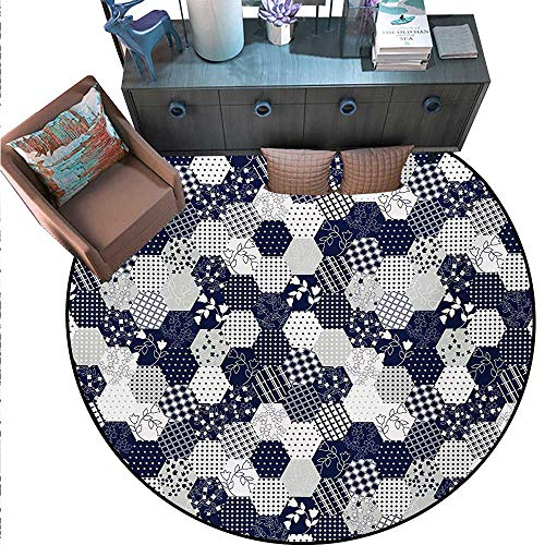 Navy Blue Non-Slip Round Rugs Octagon Patchwork Style Pattern Image Dots Stars Squares Stripes Living Dinning Room Bedroom Rugs (55