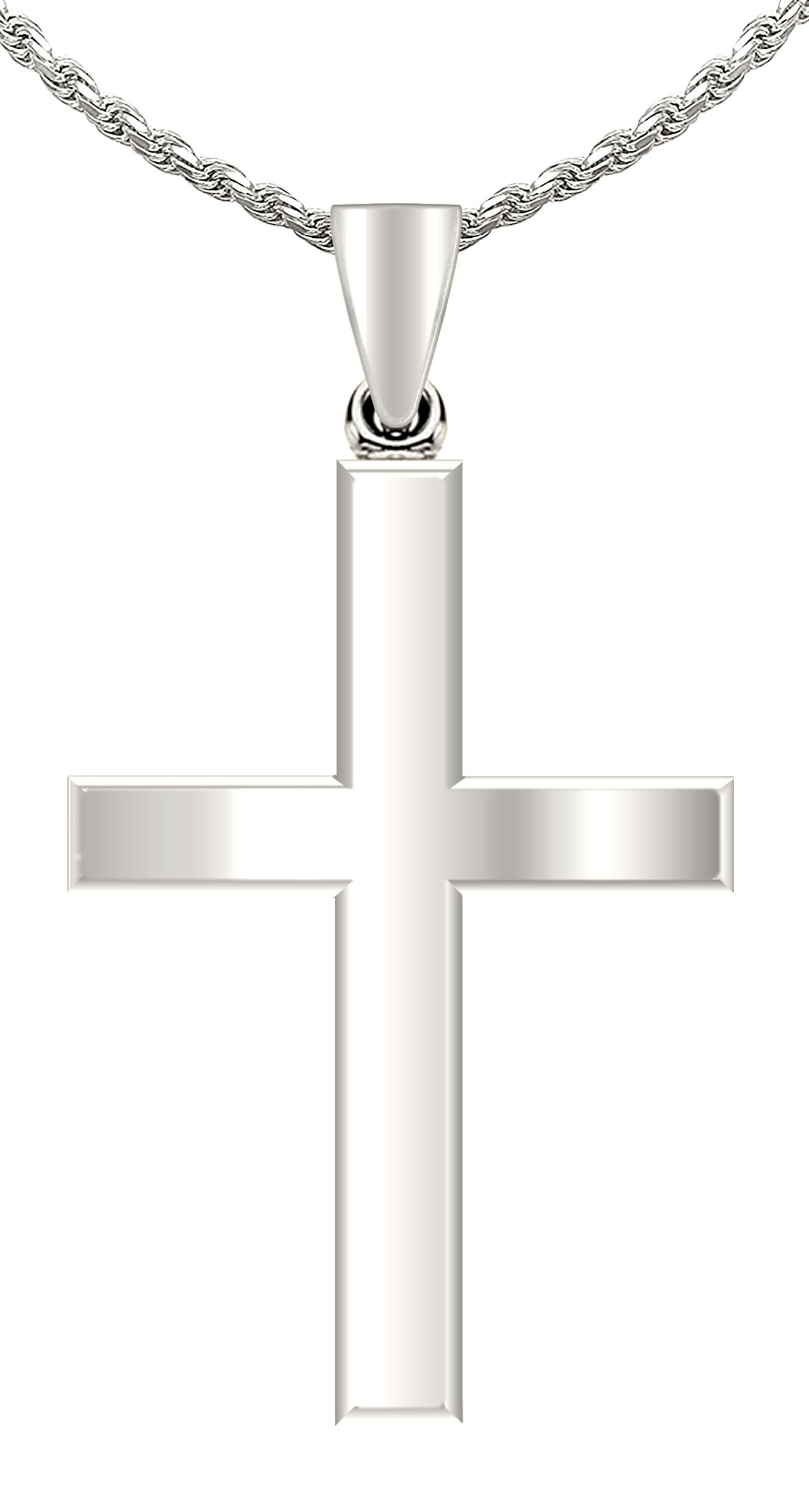 Mens 14k White Gold Christian Cross Pendant Polished Finish 1.5mm Cable Chain Necklace, 18in