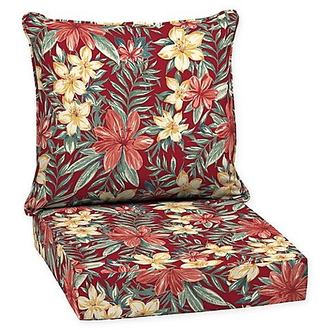 Arden SelectionsTM 2-Piece Clarissa Tropical Elegant Stylish Outdoor Deep Seat Cushions in Red, Measures 46.5