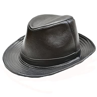 Yosang Men s Genuine Leather Porkpie Fedora Hat Large Black at ... b0c147383e34