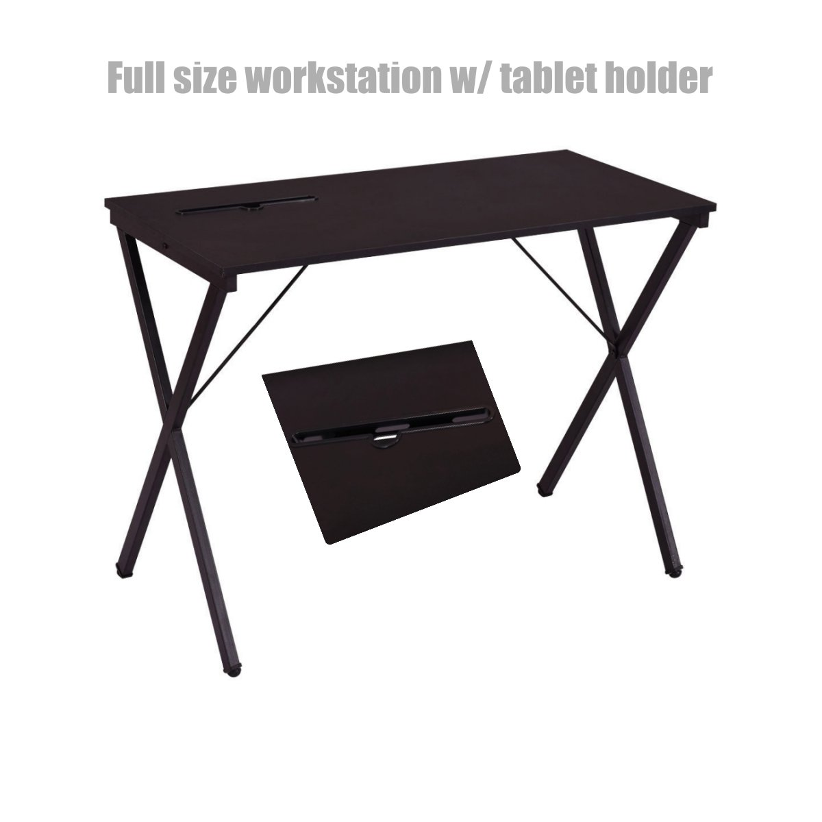 Modern design laptop computer desk space saving solid powder coated steel frame durable workstation folding table home decor office furniture classic