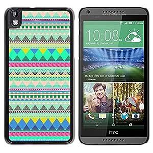Cubierta protectora del caso de Shell Plástico || HTC DESIRE 816 || Indian Pattern Green @XPTECH