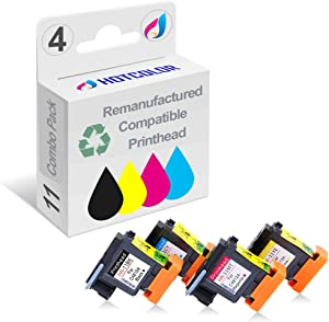 HOTCOLOR 4 Pack (BK C M Y) Replacement for HP 11 Printhead for Inkjet Pro k850 850dn Officejet 9110 9120 9130