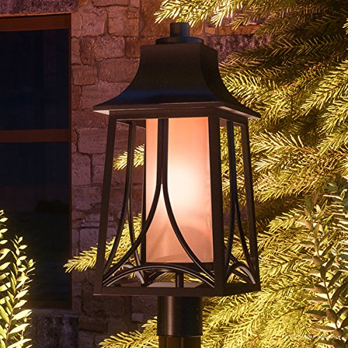 Luxury Asian Outdoor Post Light, Large Size: 21''H x 8.5''W, with Craftsman Style Elements, Airy and Simplistic Design, Beautiful Royal Bronze Finish and Light Amber Glass, UQL1083 by Urban Ambiance by Urban Ambiance (Image #8)