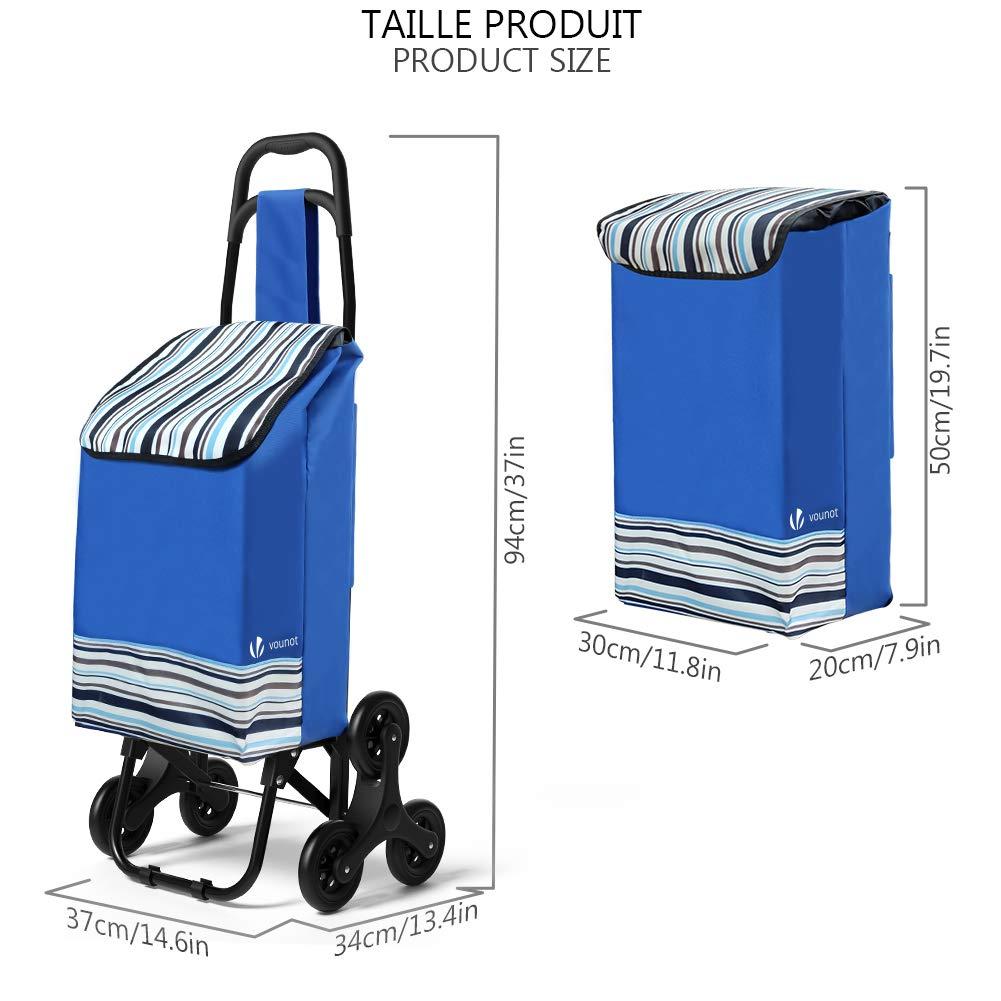 Trolly Einkaufswagen Klappbar 32L Blau Wasserdichter VOUNOT Einkaufstrolley Treppensteiger mit 3 R/äder