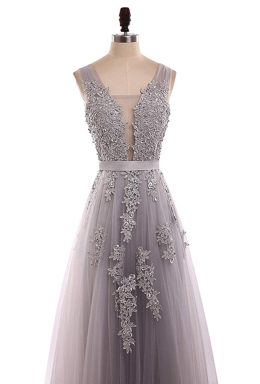 c6f648ce84e Amazon.com  V Neck Prom Dresses Beading Chiffo Party Evening Elegant Sexy  High Split MNQ170406  Clothing