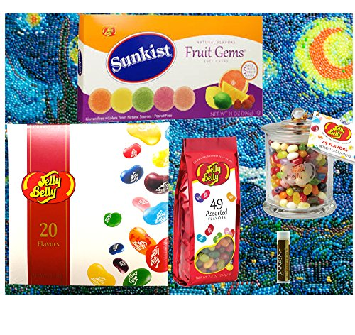 Jarosa's Gift Set of Jelly Belly Starry Night Poster, 20-Flavor Bean Gift Box, Classic 49 Flavors Glass Jar, 49 Asst Flavors Gift Bag & Sunkist Fruit Gems with a Jarosa Bee Organic Chocolate Lip Balm