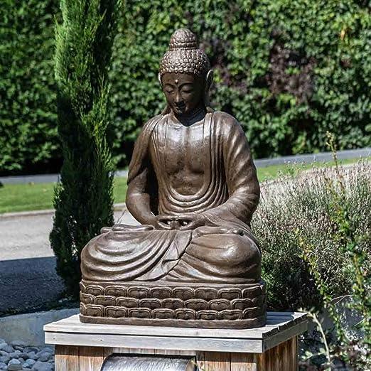 Wanda collection Estatua jardín Buda Sentado de Fibra de Vidrio posición Chakra 150 cm marrón: Amazon.es: Jardín