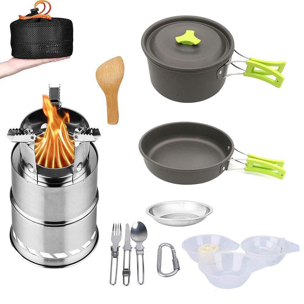 SLONG Kit de Utensilios de Cocina para Acampar con Estufa, Juego de Cocina para Exteriores, sartenes antiadherentes para 2 a 3 Personas Que viajan, ...